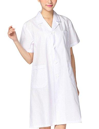 THEE Weiß Kurzarm Krankenschwester Medizinische Arbeit Labor Kittel Unisex