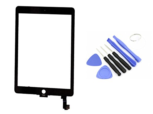 R.P.L. Original Digitizer passend für Apple iPad Air 2 Schwarz Black/Frontglas / Glas/Displayglas / LCD Reparatur/LCD Display/Touchscreen / LCD Replacement / 8 - Teiliges Werkzeugset Tools