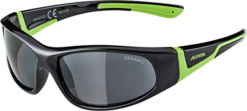Alpina Kinder Sonnenbrille FLEXXY JUNIOR Sportbrille, black-green, One Size