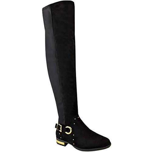 Damen Overknee-Stiefel - elastisch - flacher Absatz - Nieten-Details - Schwarz Veloursleder-Imitat - EUR 37 (Veloursleder-wedge-stiefel)