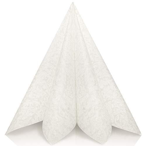 Grubly tovaglioli di carta in nozze bianchi - tovaglioli carta resistenti come tovaglioli stoffa da tavola - perfetti per ogni cerimonia - tovaglioli colorati 40 x 40 - qualità airlaid - pacco da 50