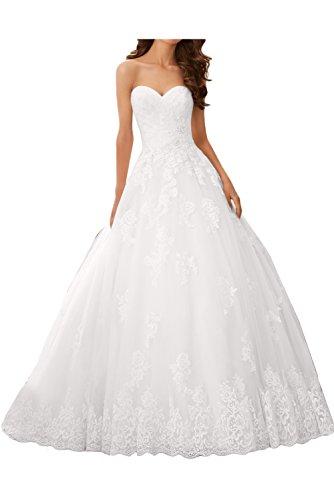 Ivydressing Damen Romantisch Spitze Brautkleider Herzform Hochzeitskleider-44-Weiss