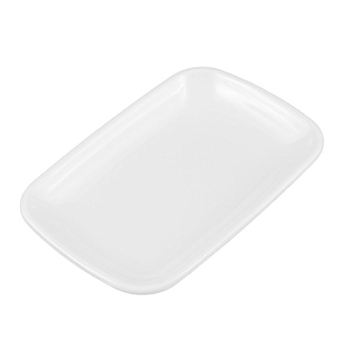 sourcingmap Restaurant Assiette Forme de rectangle Plat à dessert Marinades Plaque Plat Blanc