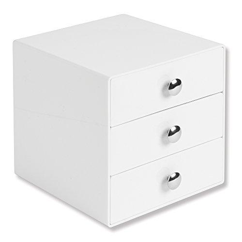 InterDesign Drawers Schubladenbox | Schminkbox mit 3 Schubladen zum Sortieren von Make-Up, Schmuck etc. | Schubladen Organizer für Büro- und Bastelbedarf | Kunststoff weiß