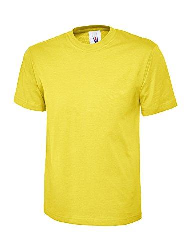 Einfach Klassische T-shirt Oberteil 100% Baumwolle Freizeit Freizeit Sport Works UC301 Gelb