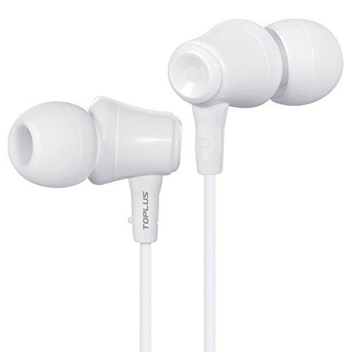 TOPLUS In Ear Kopfhörer In-Ear Stereo Ohrhörer inklusive Mikrofon für iOS- und Android-Geräte usw mit 3.5mm Klinkenstecker (Weiß)