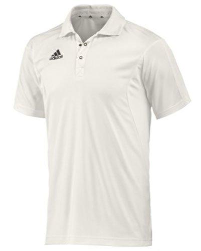 adidas Kurzarm Mens Cricket Shirt Cricket Bekleidung Tops Weiß, Weiß, L -