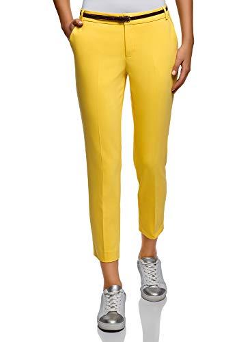 oodji Collection Donna Pantaloni Cropped con Cintura, Giallo, IT 44 / EU 40 / M