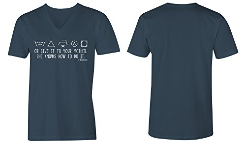 Or Give It To Your Mother ★ V-Neck T-Shirt Männer-Herren ★ hochwertig bedruckt (03) dunkelblau