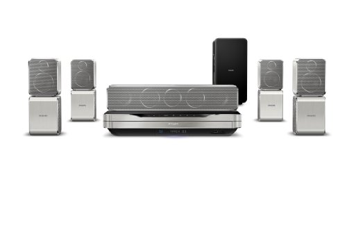 Philips HTS9520/12 5.1 3D Blu-ray Heimkinosystem (HDMI, Upscaler 1080p, DivX-zertifiziert, Docking-Funtkion für Apple iPod/iPhone, USB) silber