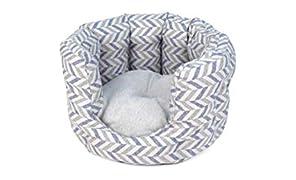 Project Blu - Lettino per gatti ecologico – lavabile in lavatrice, grigio blu, con cuscino per gatti, realizzato in plastica riciclata con rilegatura oceanica (55 cm di diametro)