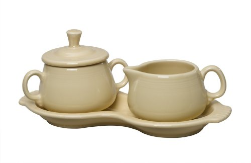 (Ivory) - Fiesta Covered Creamer and Sugar Set with Tray, Ivory Creamer Tray Set