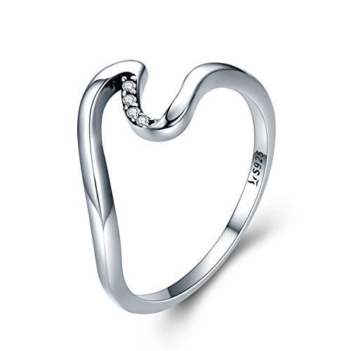 Shysnow Eternal Wave Ring Sterling Silber Verlobungsring für Liebhaber (Silber Daumen, Ring-größe 8)