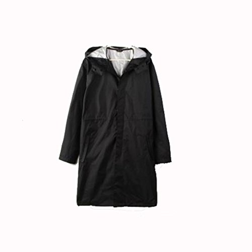 OLDJTK Regenmantel Poncho lässig Herren Regenmantel mit Nylon Regenmantel im Freien wasserdicht Poncho (Farbe : Schwarz, größe : XL)
