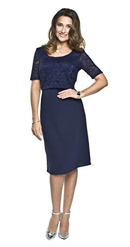 Torelle Damen festliches Umstandskleid mit Stillfunktion, Modell: Blanca, dunkelblau, S