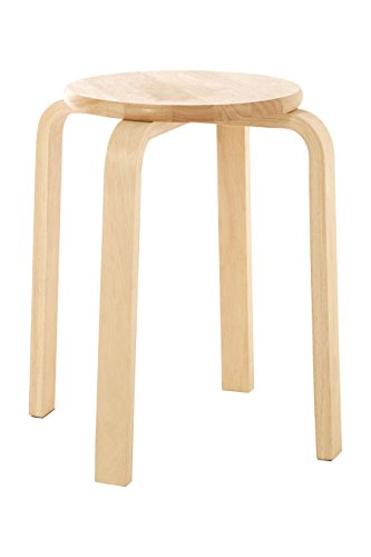 Premier Housewares Rubberwood Round Stool, 44 x 37 x 37 cm
