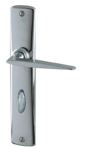 DT 2000 204240 - Maneta de puerta con placa (hierro, con condena), color cromado