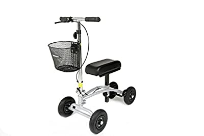 Orthomate Knee Scooter with Basket Pneumatic tyres for a smooth ride indoors or outside. For all below knee non-weight bearing injuries