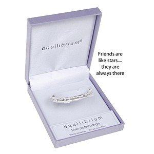 Equilibrium - Bracciale rigido con incisione 'Friends Are Like Stars They Are Always There', placcato argento