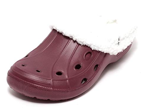 Zapato Mädchen Damen Clogs Winterclogs Sommerclogs mit und ohne Fell tragbar WEINROT Gr. 36-40 (40, weinrot)