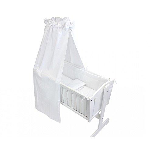 TupTam Unisex Baby Wiegen-Bettwäsche-Set 6-TLG, Farbe: Weiß, Anzahl der Teile:: 6 TLG. Set