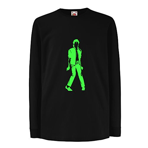 lepni.me Camiseta para Niño/Niña Me Encanta M J - Rey del Pop, 80s, 90s Músicamente Camisa, Ropa de Fiesta (14-15 Years Negro Verde)