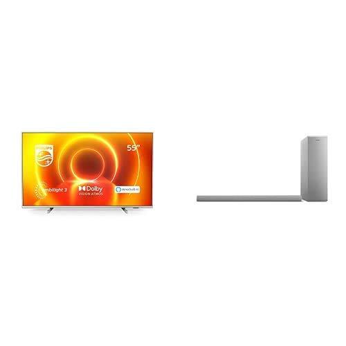 "Oferta de Philips 55PUS7855/12 Televisor Ambilight de 55"" (4K UHD, P5 Engine, Dolby Vision∙Atmos, Alexa Integrado, Smart TV) con Barra de Sonido con Subwoofer B6405/10 (Bluetooth, 140W, Dolby Audio) Plata"