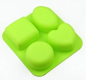 Allforhome 4 Cavities Heart Square Round Oval,Silicone Cake Baking Mold,Cake Pan,muffin cups,Handmade Soap Molds,Biscuit Chocolate mold, Ice Cube Tray DIY mold Square Chocolate Mold