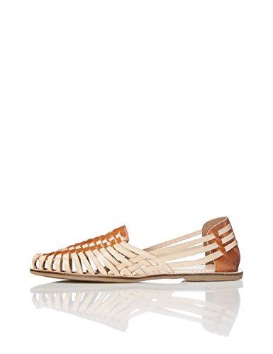 Find. Sandalias de Cuero Trenzado Mujer, Varios Colores Tan / Cuoio, 41 EU