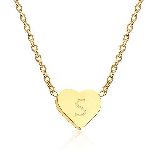 GD GOOD.designs EST. 2015 ® Damen Halskette mit kleinem Herz-Anhänger (Herzschmuck) Herz Kette für Frauen| Goldkette mit Buchstaben Initialen Halskette 18K vergoldet (Buchstabe S) (S Gold-halskette)