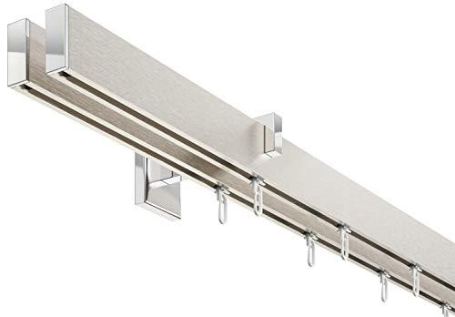 Innenlauf Gardinenstangen Set eckig, 2-läufig, Aluminium silbert eloxiert/verchromt, 240 cm, kurzer Träger