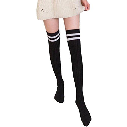 Saingace Frauen über dem Knie lange Socken gestreifte Oberschenkel hohe Strümpfe (Schwarz) (Knie-hohe Gestreifte Socken)