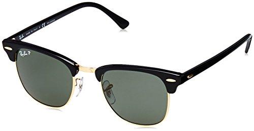 Ray-Ban Unisex Clubmaster Classic Sonnenbrille, Gestell: Schwarz, Gläser: Polarized Grün Klassisch 901/58), Medium (Herstellergröße: 49)
