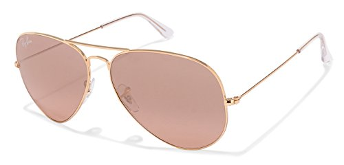 Ray-Ban RB3025 Aviator Large Metal Mirrored Unisex Sunglasses (Gold Frame/Crystal Brown Pink Silver Mirror Lens 001/3E, 62)