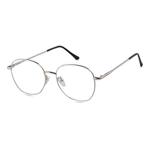 ADEWU Retro Nerdbrille Klassisches Rund Rahmen Blue Light Blocking Glasses Damen Herren (Anti Blaulicht-Silber)