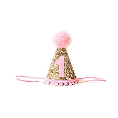 Ruiting Cappello Fascia Corona Cappello del Bambino di Compleanno Glitter Pink 1st Birthday Accessori Bambino Prima Festa di Compleanno
