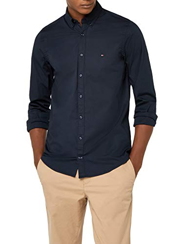 Tommy hilfiger core stretch slim poplin shirt camicia sportiva, blu (sky captain 403), medium uomo