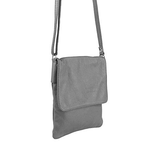 OBC ital. Kleine Schultertasche Schmucktasche Hand Made in Italy CrossOver iPad Mini Tablet 7'' Leder Tasche Umhängetasche Vera Pelle Ovye 18x22 cm (BxH) Grau