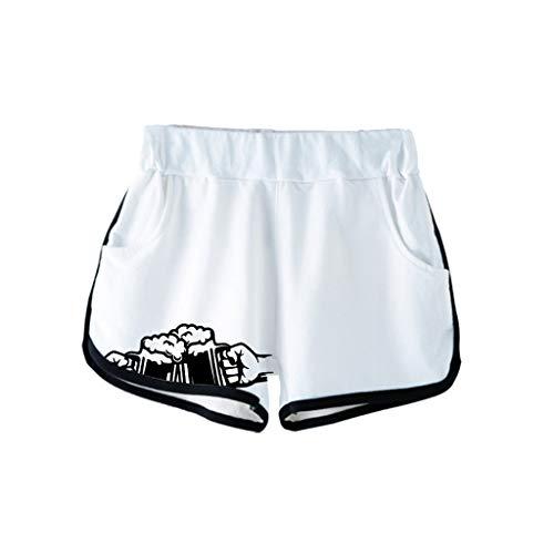 Dasongff Damen Hotpants 3D Drucken Strand Sport Freizeithose Bierfest Strandhosen Beiläufige Lockere Sommerhose Beer Badeshort Streetwear Fitness Outdoorhose Biermädchen -