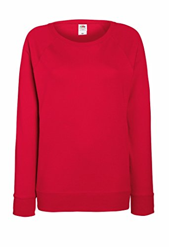 Fruit of the Loom Damen-Passform leicht Raglan Sweatshirt Gr. xxl, Rot - Rot