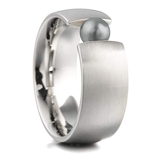 Heideman Ring Damen aus Edelstahl Silber farbend Strich matt Damenring für Frauen mit Swarovski Perle schwarz rund 6mm