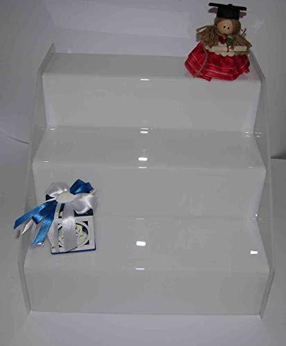 Dmd espositore a scaletta in plexiglass bianco n. 3 ripiani largh. cm. 8 ca. dimensioni totali cm. 40 lungh.x cm. 24 h x cm. 24 largh.
