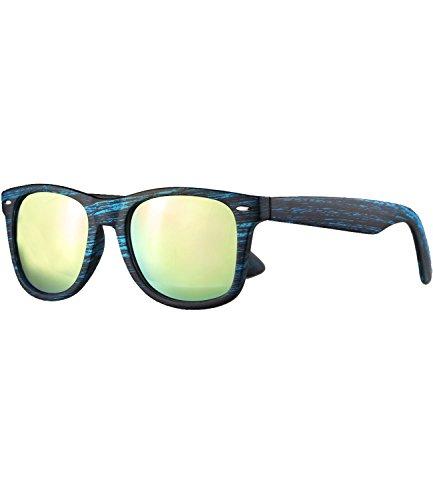 Caripe Retro Nerd Vintage Sonnenbrille verspiegelt Damen Herren 80er - SP (Holzoptik blau - neon-rosa verspiegelt-525X)