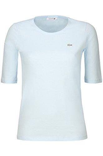 Lacoste TF5621 Klassisches Damen Basic T-Shirt, Rundhals, 3/4 Arm, Kurzarm, Regular Fit, für Freizeit und Sport, 100% Baumwolle Blau (Rill T01), EU 38