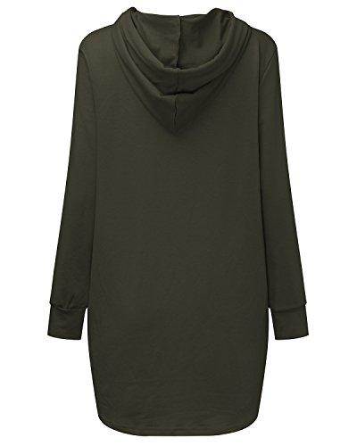 SUNNYME Maglia manica lunga con cappuccio da donna Pullover a maniche lunghe da donna Casual Midi Hoodie Army Green