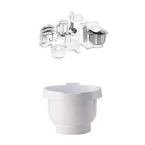 Bosch MUM4880 Küchenmaschine MUM4 (600 Watt, Edelstahl-Rührschüssel, Durchlaufschnitzler, Mixeraufsatz Kunststoff, Fleischwolf, Zitruspresse, Rezept DVD) weiß + Rührschüssel weiss