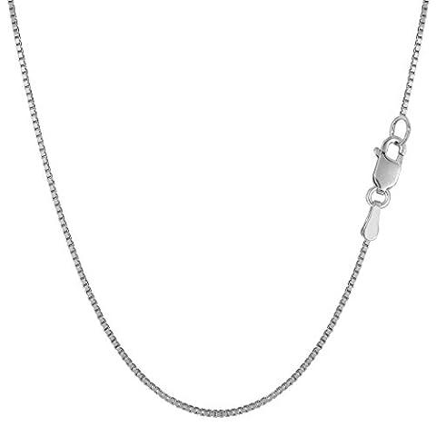 10k White Gold Classic Mirror Box Chain Necklace, 0.8mm, 24
