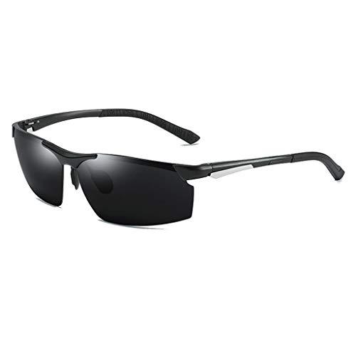 Jinxiaobei Herren Sonnenbrillen UV400 Protection Sports Polarized Sunglasses Herren-Sonnenbrille ohne Rand (Color : Black)