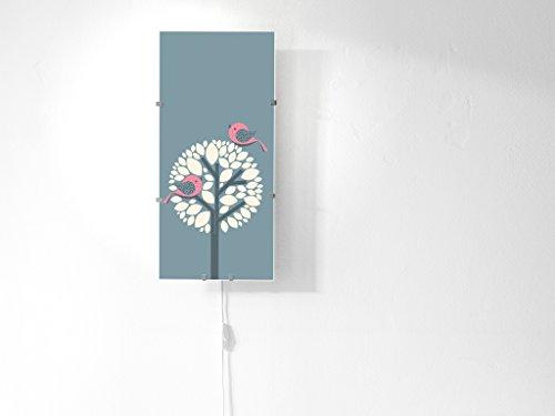 banjado YOURDEA - Kinderzimmer Wechsel Bild für IKEA GYLLEN Wandleuchte 56cm mit Motiv: Zwei Rosa Vögel