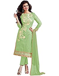 M Fab Ethnic Women's Cotton Chanderi Embroidered Free Size Straight Salwar Suit Dupatta Un Stitched (Pista Green)